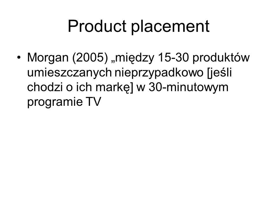 """Product placement Morgan (2005) """"między 15-30 produktów umieszczanych nieprzypadkowo [jeśli chodzi o ich markę] w 30-minutowym programie TV."""
